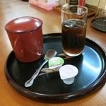 武州うどん江川 - ランチセットの珈琲と蕎麦湯