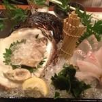 村上水軍 - 村上水軍@銀山町で海の幸。産地聞くの忘れたけど岩牡蠣は期待はずれ。