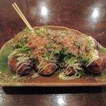 たこ焼き ジパング - たこ焼き塩マヨ、ネギトッピング、青のり、かつお節