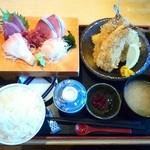 29262699 - お刺身4種と鯵フライ定食です☆