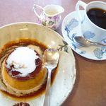 茶房平 - かぼちゃプリンセット(¥640)