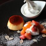 門前洋食 藤屋 - クラシックプリン フルーツマリネとソフトクリーム