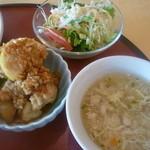 chuugokushuboukoukei - 若鶏の唐揚げ薬味ソースがけ、スープ、サラダ