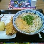 丸亀製麺 - かけうどん(大)、かしわ天、半熟玉子天