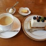 エーデルワイス洋菓子店 - ブルーベリーレアチーズケーキ&珈琲セット