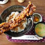 海楽 - 料理写真:かいらく @大洗 ジャンボあなご天丼セット 800円