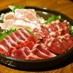 我武者羅 - 2014.7 鶏の刺身三点盛(950円)ささみ、砂肝、ハツ