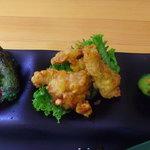 29328664 - しそ巻(ミニトマト)、カレー風味鶏唐揚、きゅうりの漬物