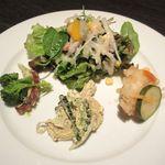 Dining Cafe As Domani - レディースランチの前菜3点盛・サラダ(2014/07/30撮影)