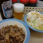 松屋 - 牛皿ポテサラ瓶ビール(`・ω・´)ゞ