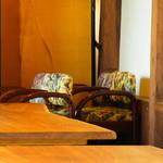 みやけ 旧鴻池邸表屋 - 座イス。机の半分ぐらいの高さで座り、食べることになりそうです。(2014.07)
