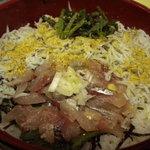 ふな和 - アジと釜揚げしらす丼です