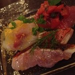 29423485 - 鮮魚のカルパッチョ。オススメです。金目と平目とマグロ。