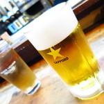 もつ焼 まるい - 生ビール(中)550円