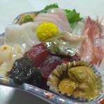 みやこや - ご当地産のお造り盛り合わせ。鮪、帆立、雲丹(各北海道産)を除き、全て新潟県日本海産。