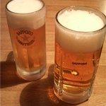 鉄庵 - 生ビール(中)&生ビール(大)