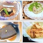 花あさぎ - 茄子の煮浸し・なめろう・胡麻豆腐・サザエのホイル焼き