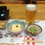 29456204 - 7月29日。夕食。生ビール付きです。玉子豆腐と湯葉和え。