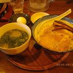 雨は、やさしく - 冷たい鰹だしと落とし卵のつけ麺(中)780円