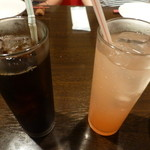 蔵deパスタ - アイスコーヒーとグレープフルーツジュース