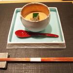 29521863 - 先付 トマトの冷製茶碗蒸し バジルのムース・じゅんさいと一緒に