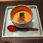 29521872 - 先付 トマトの冷製茶碗蒸し バジルのムース・じゅんさいと一緒に