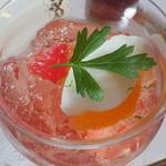 リストランテ フォレスタ・ヴェルデ - Dolce/柑橘とロゼワインのジュレ寄せ レモンのジェラート添え