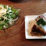 オルモ コッピア - 料理写真:山葵ドレッシングのサラダ ゴボウのキャラメリぜ