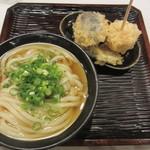 うどん 丸香 - かけ(温)、日替り野菜天盛り
