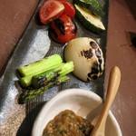 29571214 - 焼き野菜5種のからしみそ添え850円。からしみそが結構辛い!