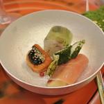 つつじの茶屋 - 前菜 〆鯵薬味寿司など
