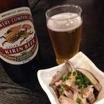 もつ鍋専門店 元祖 もつ鍋 楽天地 - 酢モツとビール