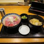 柏庵 - 石垣島生まぐろ丼 800円   ※味噌汁を冷たい蕎麦へ変更して100円プラスで900円