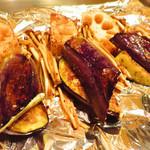 鉄板焼 FLOUR - 旬野菜の鉄板焼き       レンコン、茄子、エノキ。