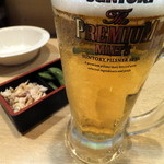 馳走庵 - お通しとビール
