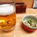 和歌寿司 - 生ビール&付き出し