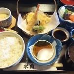 米貞 - 天ぷら定食1380円(ランチ時は100円引き)