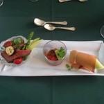 29739774 - ローストビーフのサラダ仕立て・夏野菜のカポナータ・パルマ産生ハムとメロン