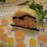 29739796 - 前菜:魚介のテリーヌ・桜エビ、マンゴーのソース