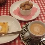 ビストロ とげまる - プチデザート:洋梨のクラフト&エスプレッソ・フランス風角砂糖(ブラウン)