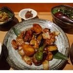 29753925 - ◆糸島豚と茄子の味噌炒め(730円)+Cセット(2品おばんさいを選べます:ポテトサラダと肉みそにしていました。量は通常より少量)+揚げ出し豆腐(200円)
