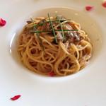 トラトッリア ルッチ - ポルチーニ茸と明太子のスパゲッティーニ