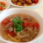 29759520 - 羊肉2種 厚揚げっぽいのと、トマトが入ったスープ
