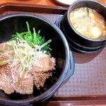 オモニのひと味 - 石焼き豚カルビ+味噌テンジョン!(2014,8/9)