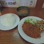 キッチン ジロー - メンチカツ&スタミナ焼き定食930円