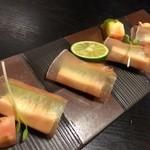 居酒屋いなほ - アボガドとチーズの生ハム巻
