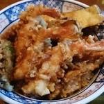 まつ本 - 上天丼(ご飯少なめ)
