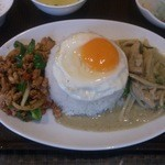 29798794 - グリーンカレーと肉バジル炒めごはん(目玉焼き付き)