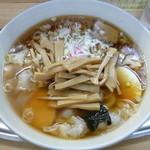 大勝軒 - '14/08/14 玉子入りワンタン麺+妻とシェアしたメンマ・ねぎ