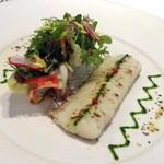 29803809 - 前菜:活〆ハモのグリエ インゲンとクルミのサラダ パセリオイル
